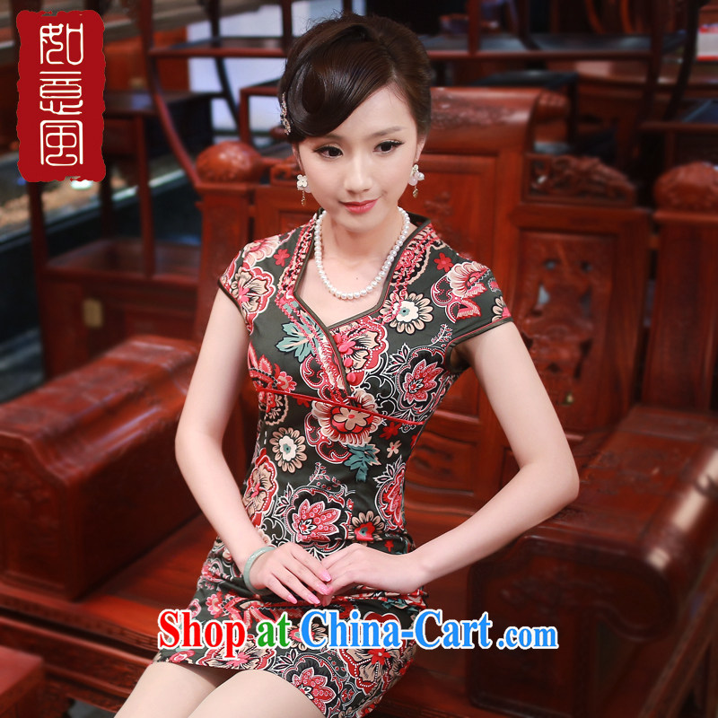 ruyi, 2015 new summer original female Chinese improved stylish everyday dresses dresses 0080 0080 army green L