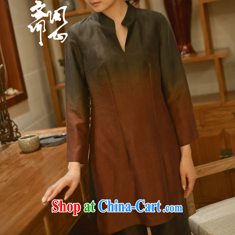 Asked about Ramadan and the Hyatt and autumn as soon as possible new Sau San V collar dresses, silk shirt long T-shirt WXZ 1291 photo color manual custom 15 Day Shipping manual customization,