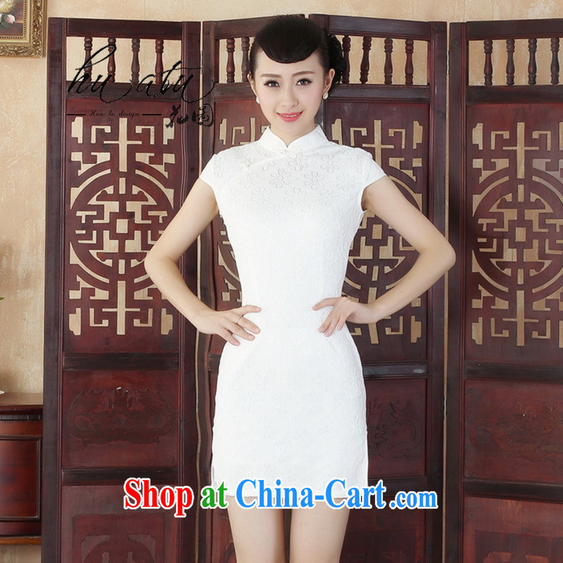 Take the girls in short, stylish and improved cultivation, for lace short cheongsam dress new Chinese qipao gown dresses white L