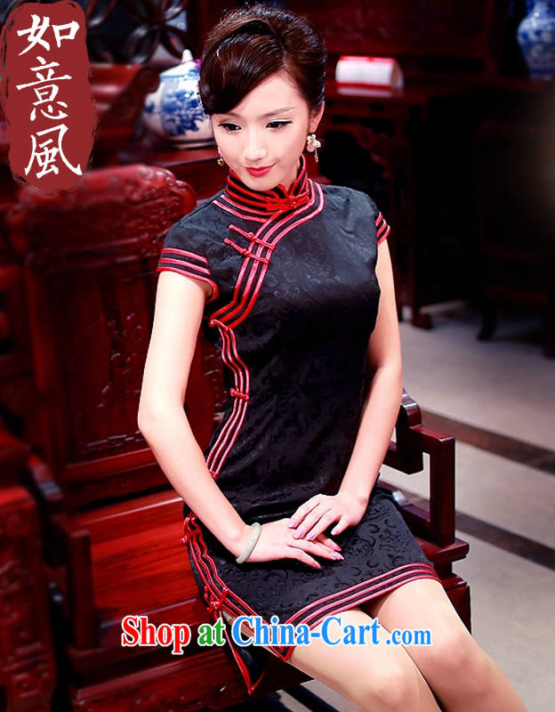 Unwind after the 2015 spring classic black-and-white Stylish retro stereo 3 piping fine recreational short cheongsam 0168 0168 black L
