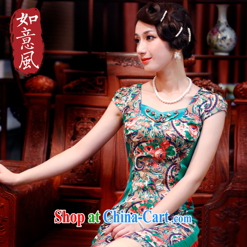 Unwind after the new 2015 summer wear cheongsam dress stylish stamp duty high-end daily retro cheongsam dress 4501 4501 green floor XL