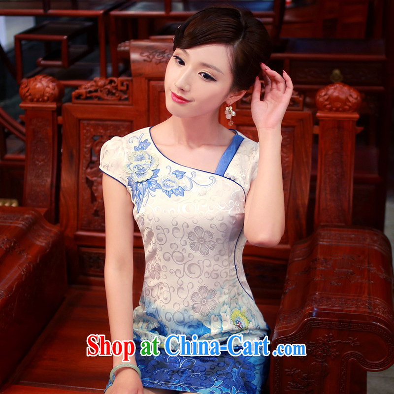 Unwind after the new 2014 summer wear cheongsam dress stylish stamp daily improved cheongsam dress 4342 4342 blue XXL