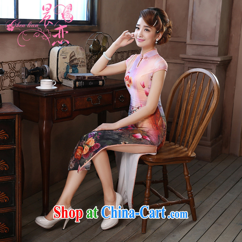 Morning dresses, new summer retro long improved stylish sauna silk silk Chinese qipao dress sweet Pink Pink L