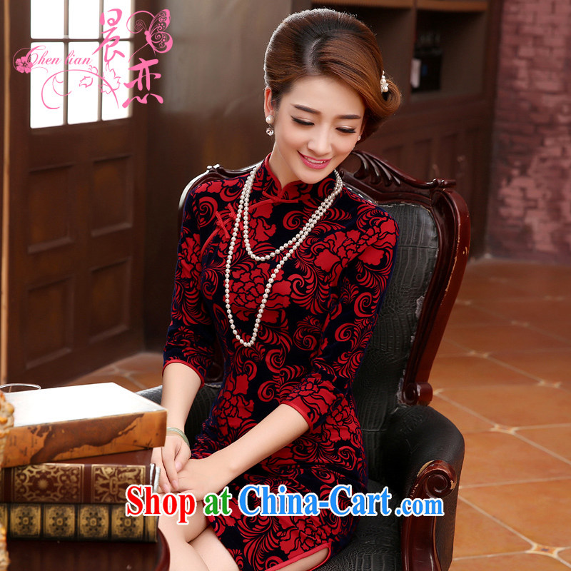 Early Morning, spring 2015 new stylish improved retro short velvet cuff in cheongsam dress MOM red XXL