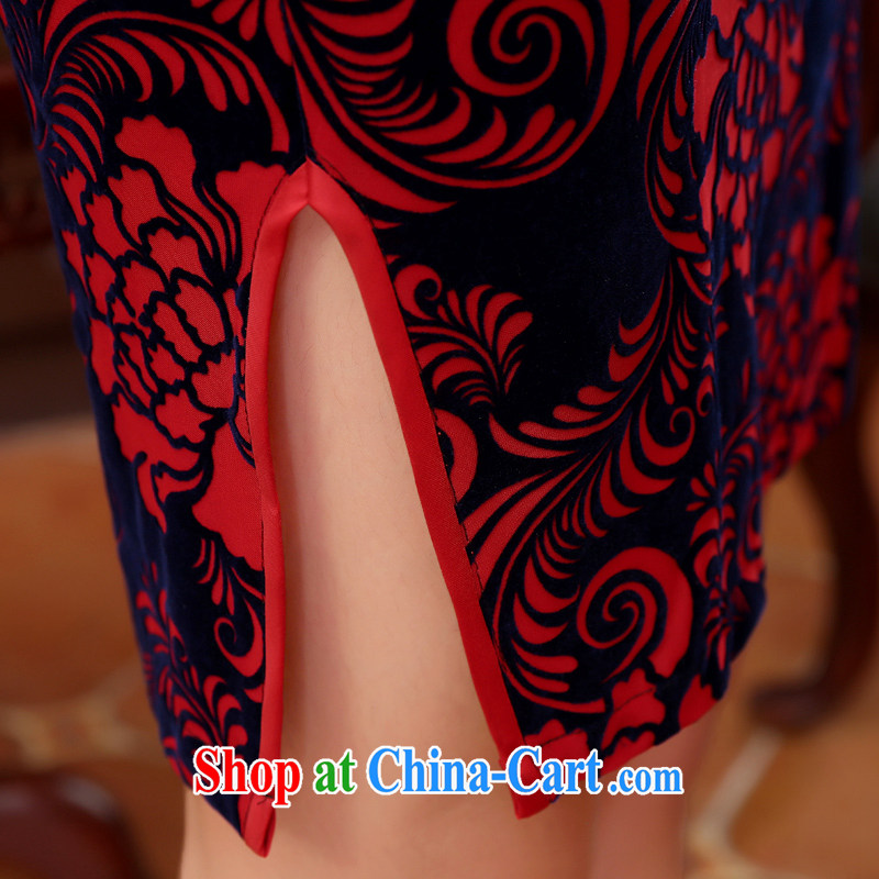 Early Morning, spring and autumn 2015 new stylish and improved retro short velvet cuff in cheongsam dress MOM red XXL, morning land, shopping on the Internet