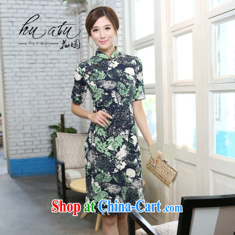 Take the Spring and Autumn and female cotton twist, the collar cuff manual and knee long cheongsam high female getting cuter and collar 2 XL