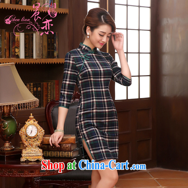Morning, Autumn 2014 new stylish improved retro short sleeves in cheongsam dress classic tartan green grid M