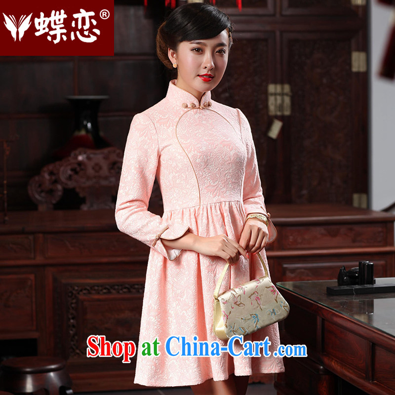 Butterfly Lovers 2015 spring new bridesmaid dresses stylish improved cheongsam dress retro dress style short cheongsam 48,019 light pink XXL