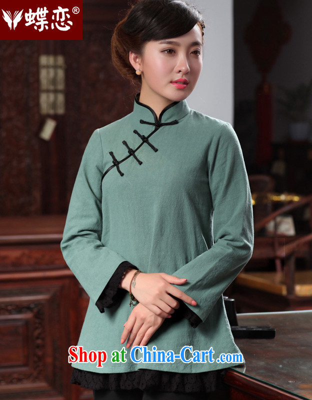 Butterfly Lovers 2015 spring new women with improved modern cheongsam shirt cotton Ma Sau San Tong Ms. Load T-shirt 48,025 cyan XXL