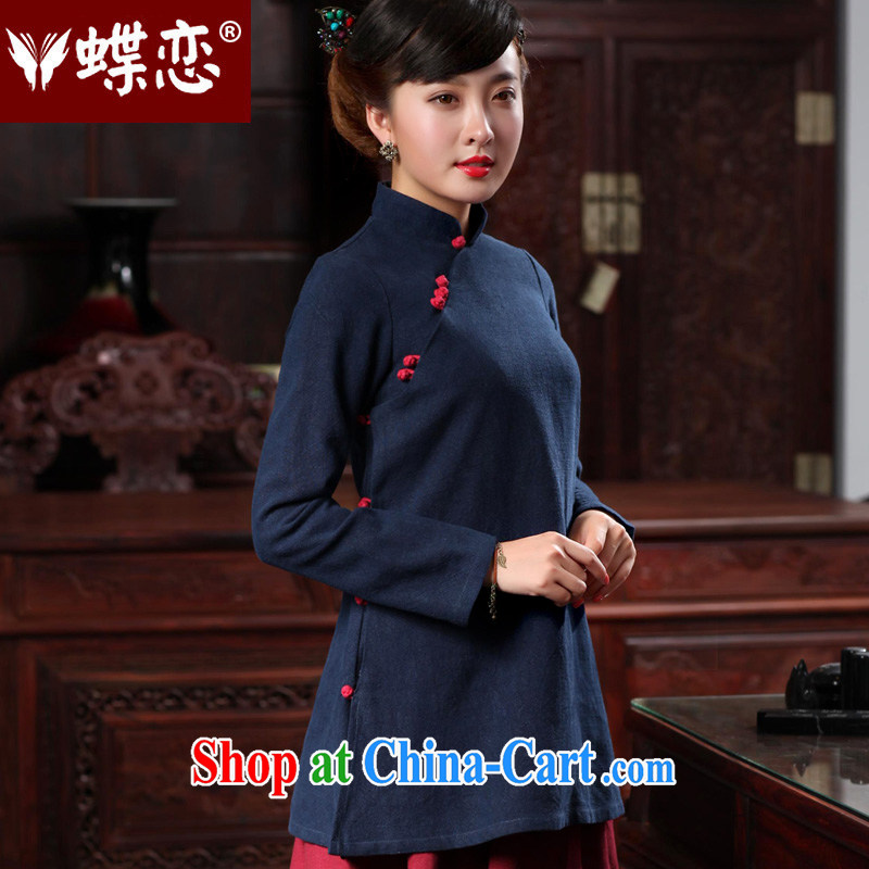 Butterfly Lovers 2015 spring new female Chinese wind flax, Chinese T-shirt cotton Ma improved cheongsam shirt 48,021 Tibetan cyan XL
