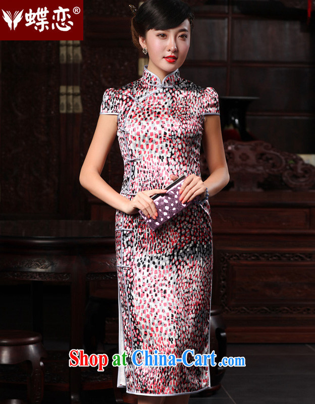 Butterfly Lovers 2015 spring new improved stylish sauna Silk Cheongsam dress retro beauty Silk Cheongsam 48,009 starry XL