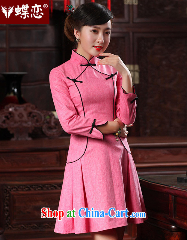 Butterfly Lovers 2015 spring new dresses bridesmaid dress improved fashion cheongsam dress often temperament short flag 48,020 peach XL