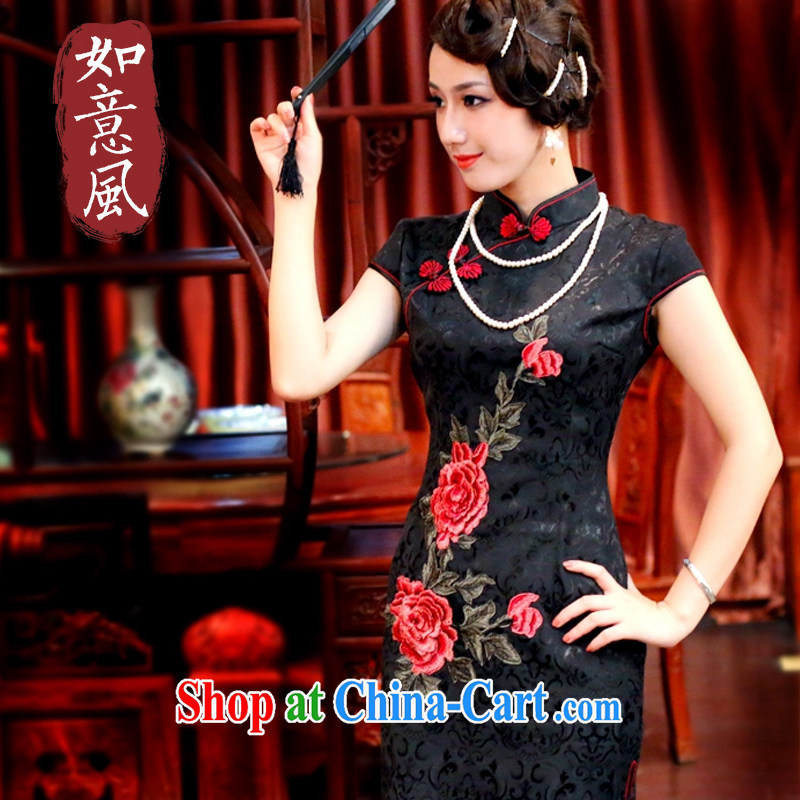 Unwind after the 2015 Spring, Summer jacquard cotton Peony embroidery style improved leisure short cheongsam 3015 3015 black L