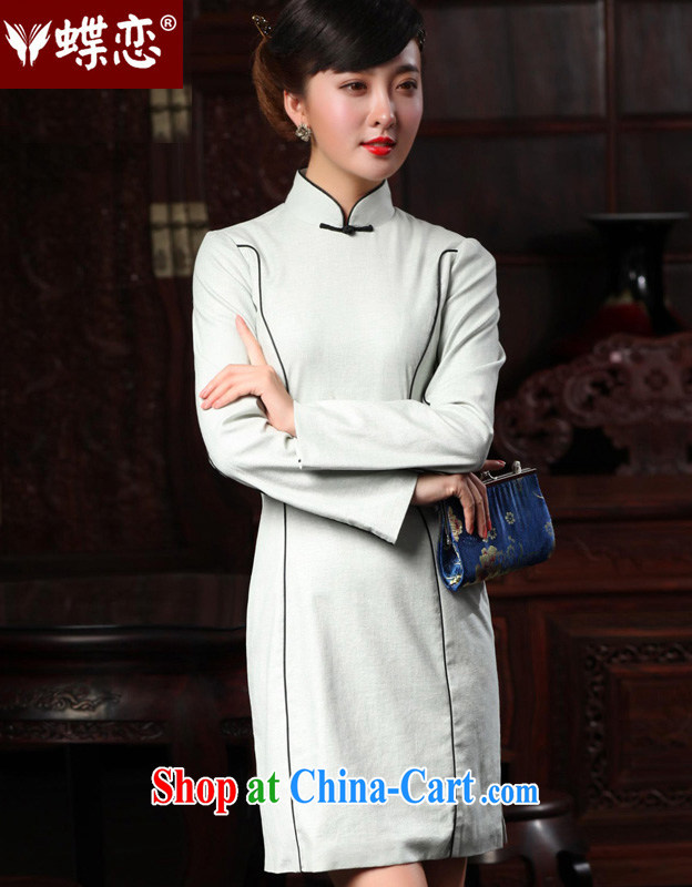 Butterfly Lovers 2015 spring new cheongsam dress retro improved fashion cheongsam dress Daily Beauty dresses 48,010 silver gray XXL