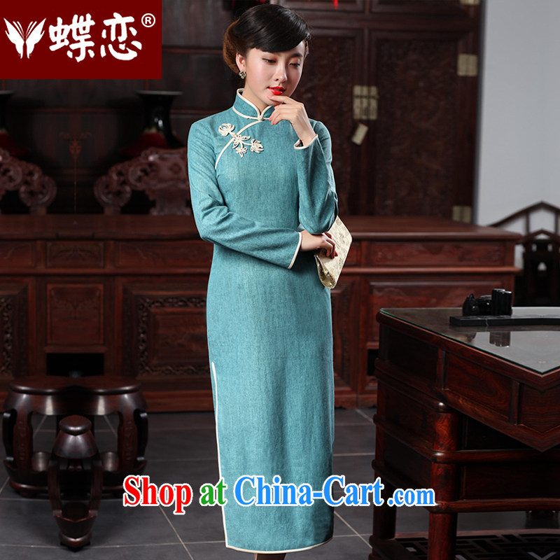 Butterfly Lovers 2015 spring new cheongsam dress improved fashion cheongsam dress everyday cotton Ma long cheongsam 48,017 blue blue ice water M