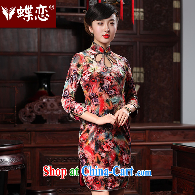 Butterfly Lovers 2015 spring new improved stylish water droplets collar cheongsam dress daily retro, lint-free cloth robes 48,011 singing birds and fragrant flowers XXL