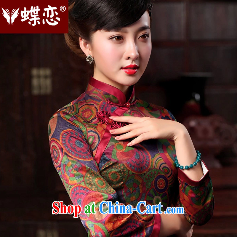 Butterfly Lovers 2015 spring new cheongsam dress improved fashion cheongsam dress in long, fragrant beauty cloud yarn Silk Cheongsam 48,013 XXL rings