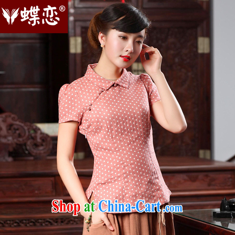 Butterfly Lovers 2015 spring new Chinese female improved stylish dresses T-shirt cotton Ms. Yau Ma Tei Tong with 46,022 pink S