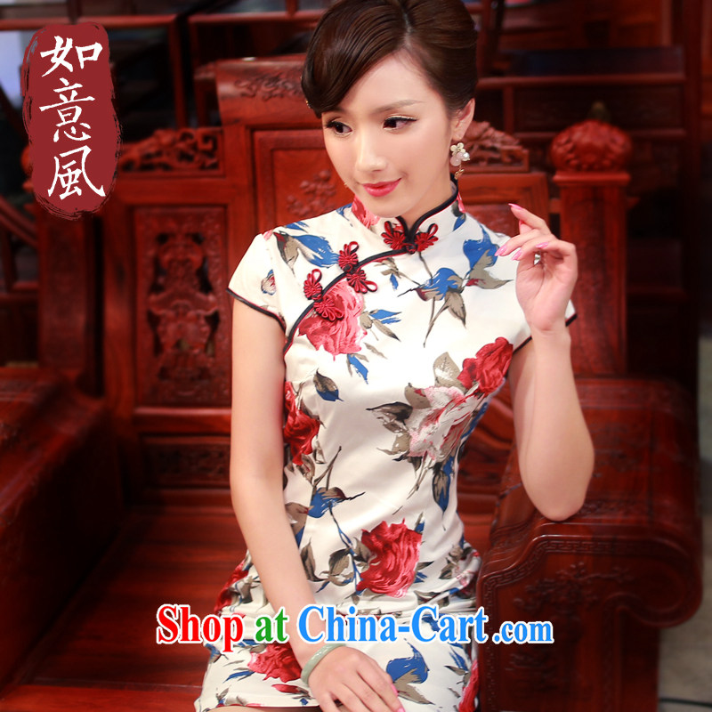 Unwind after the 2014 summer in New Stylish retro improved cotton short sleeve cheongsam dress 0018 0018 white M