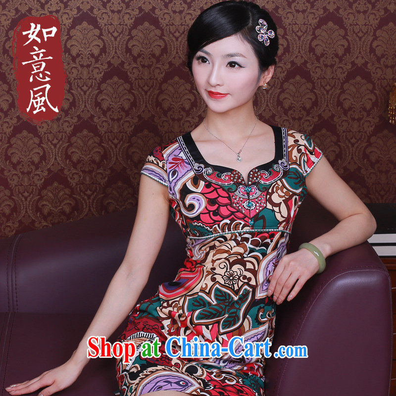 Ruyi is, 2014 new female spring and summer with National wind stylish Chinese qipao dresses 3033 3033 red XXL