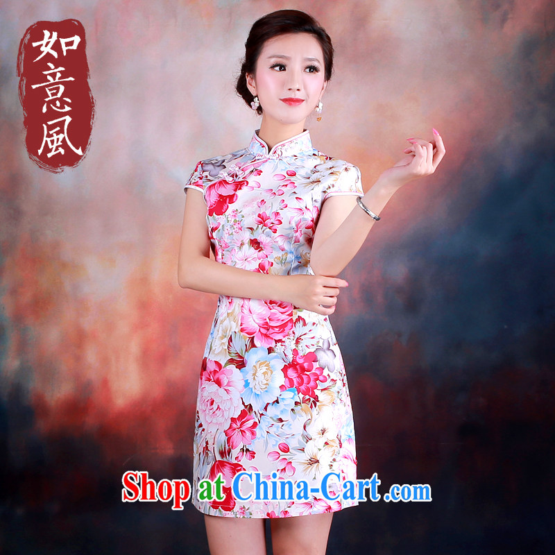 ruyi, 2014 new female summer traditional improved stylish retro pink Peony cotton short cheongsam 3014 3014 fancy XXL