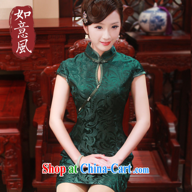 ruyi, 2015 new spring and summer, upscale Silk Cheongsam dress retro daily improved dress cheongsam dress 4014 4014 dark L