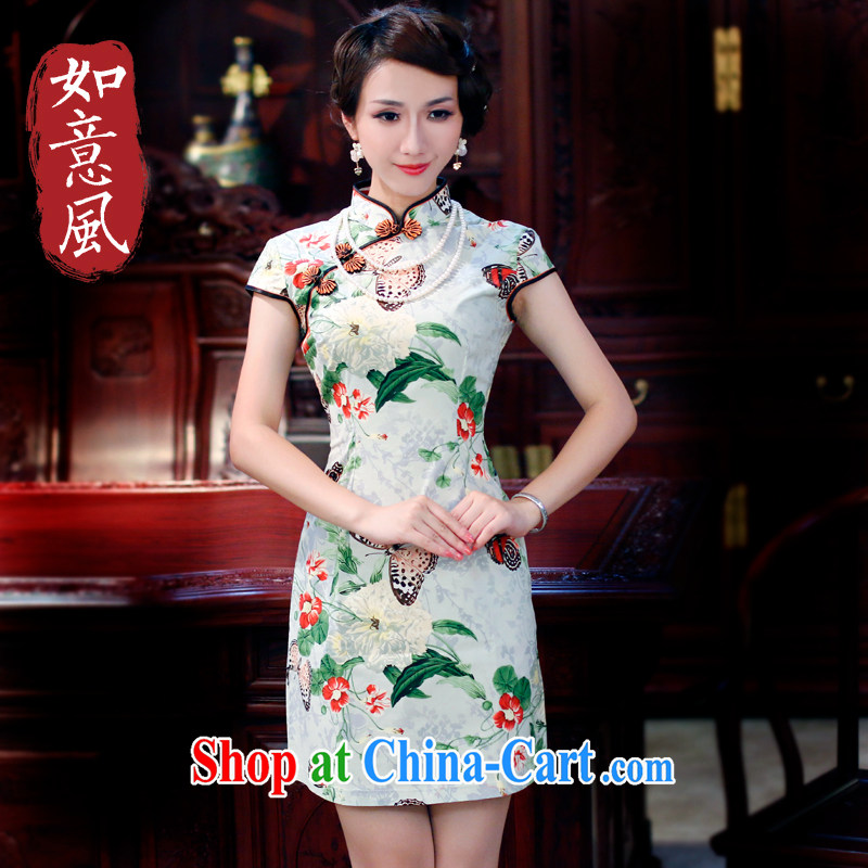 ruyi, 2015 new spring and summer girls improved butterfly Stylish retro-day summer cotton dresses 3013 3013 fancy M