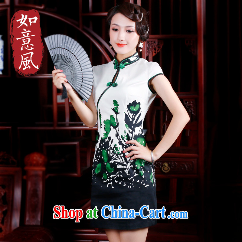 ruyi, 2014 new spring and summer outfit with improved short-sleeved style positioning take cotton day dresses skirts 2046 2046 green XXL