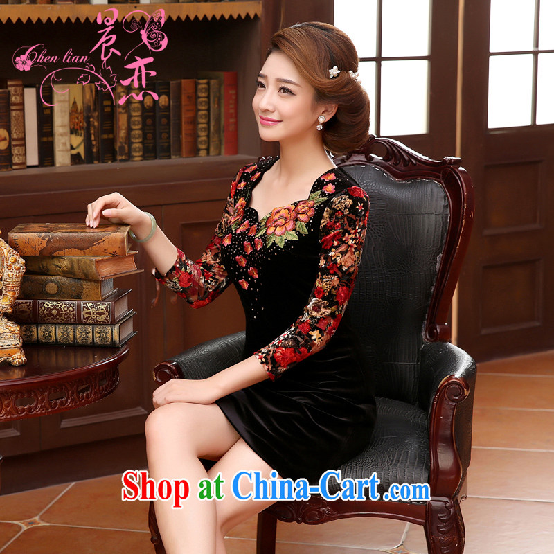 Morning, Autumn 2014 new, middle-aged and older women who are decorated in velvet dress middle-aged mother with large code female black XXL