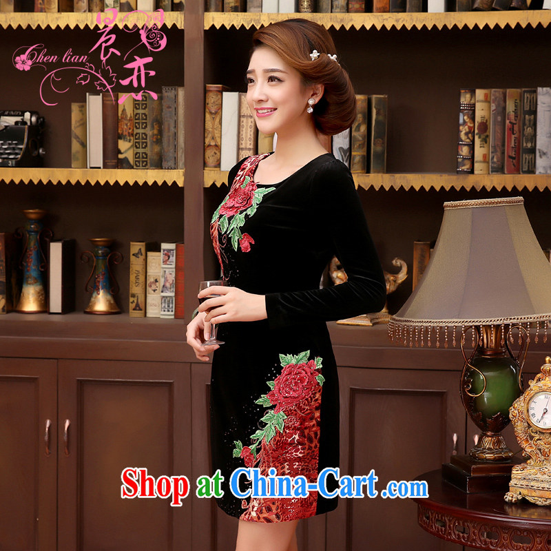 Morning, Autumn 2014 new middle-aged and older women who are decorated in velvet dress cuff in MOM load the code female black XXL