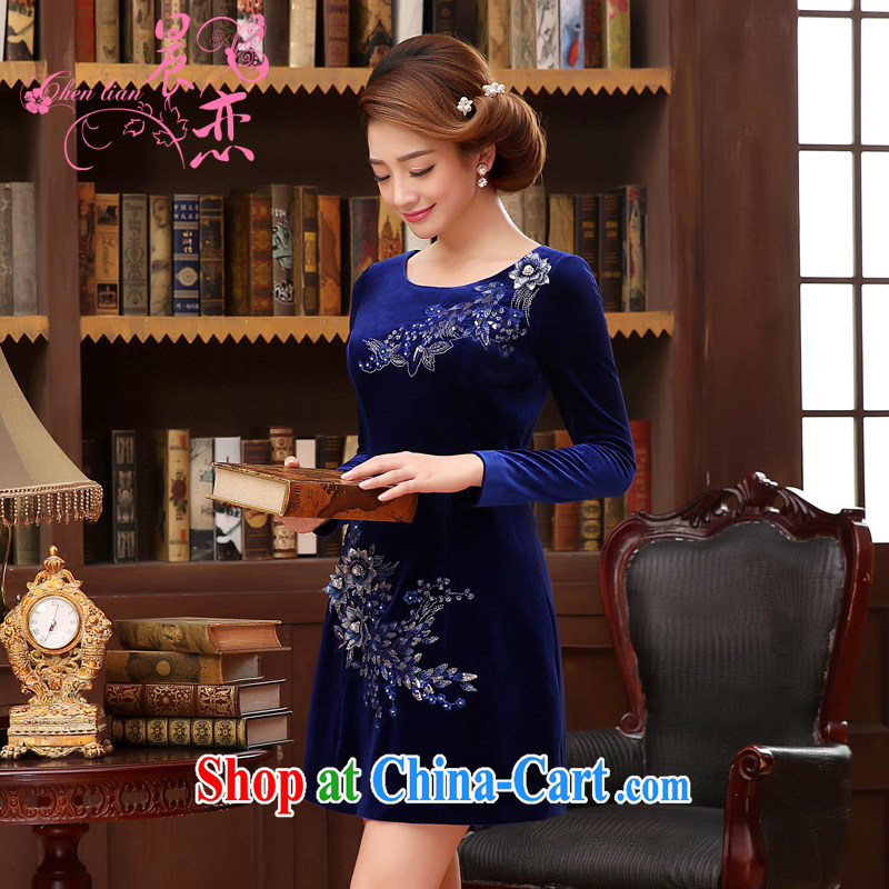 Morning, Autumn 2014 new stylish improved retro short, long-sleeved velvet dress skirt Princess Royal Blue blue XXL