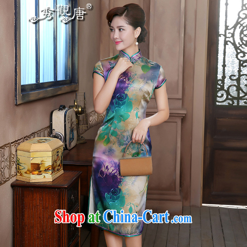 The CYD HO Kwun Tong' cold Shanghai Silk King high-end dresses, long sauna silk retro dress QD 4723 fancy M
