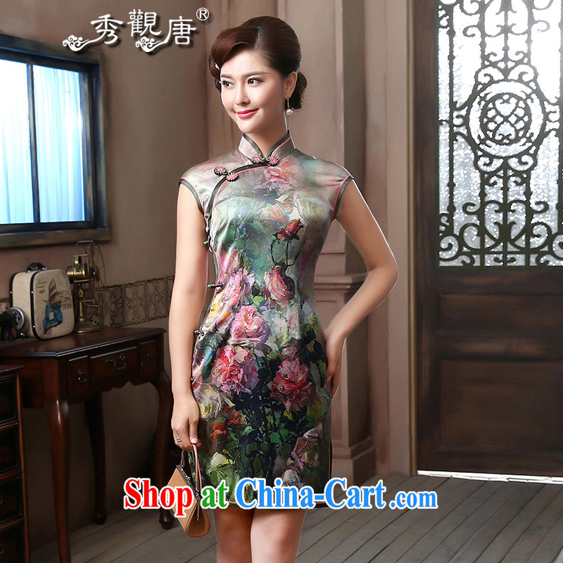 The CYD HO Kwun Tong' a color standard Silk Cheongsam 2015 traditional antique wood-tie no zipper on Lao 4803 QD XXL suit