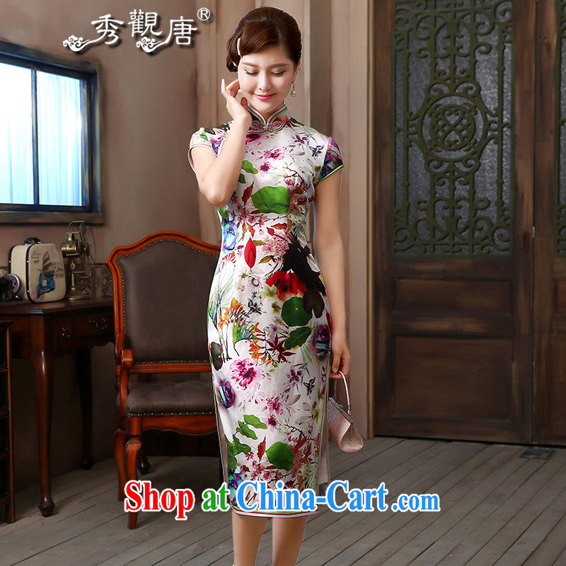 The CYD HO Kwun Tong' fragrance 2015 long Silk Dresses exclusive sauna silk retro evening dresses 4804 QD XXL suit