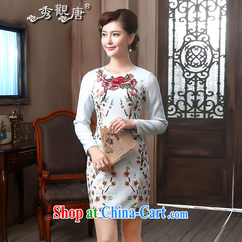 The CYD HO Kwun Tong' cross-mei long-sleeved round-collar improved fashion dresses 2015 spring on the embroidery dresses QZ 4801 blue XL