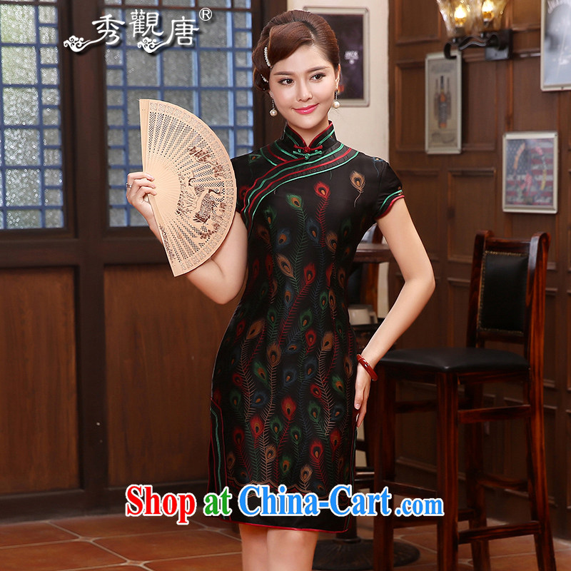 The CYD HO Kwun Tong' birds Hong Kong Silk fragrant cloud yarn high quality dresses retro style beauty MOM dresses skirts QD 4806 black XXL