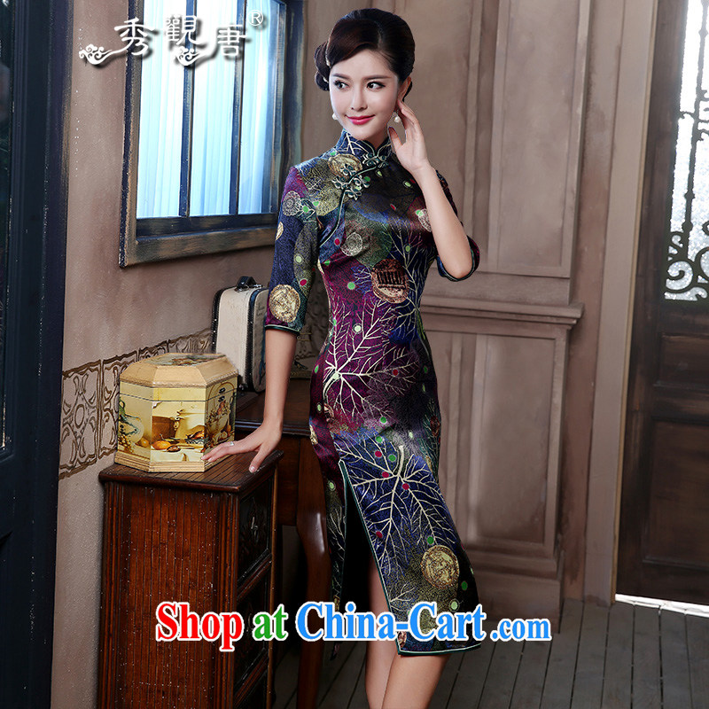 The CYD HO Kwun Tong' style upscale Silk Dresses 2015 sauna silk retro-in Lao long gown 4807 QZ XXL suit