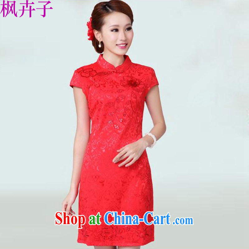 Maple floral displays the 2014 wedding dresses serving toast new summer red wedding dress high collar dress qipao F 6601 B red M