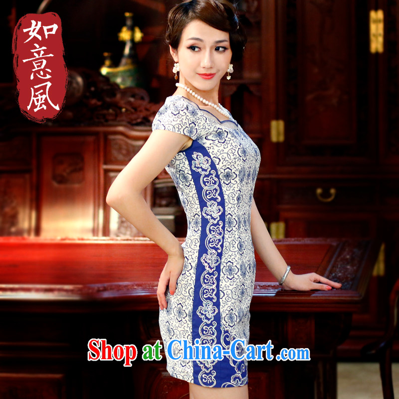 2014 girls summer new stylish fresh Chinese improvement of traditional blue and white porcelain beauty cheongsam dress 4116 4116 blue and white porcelain XL