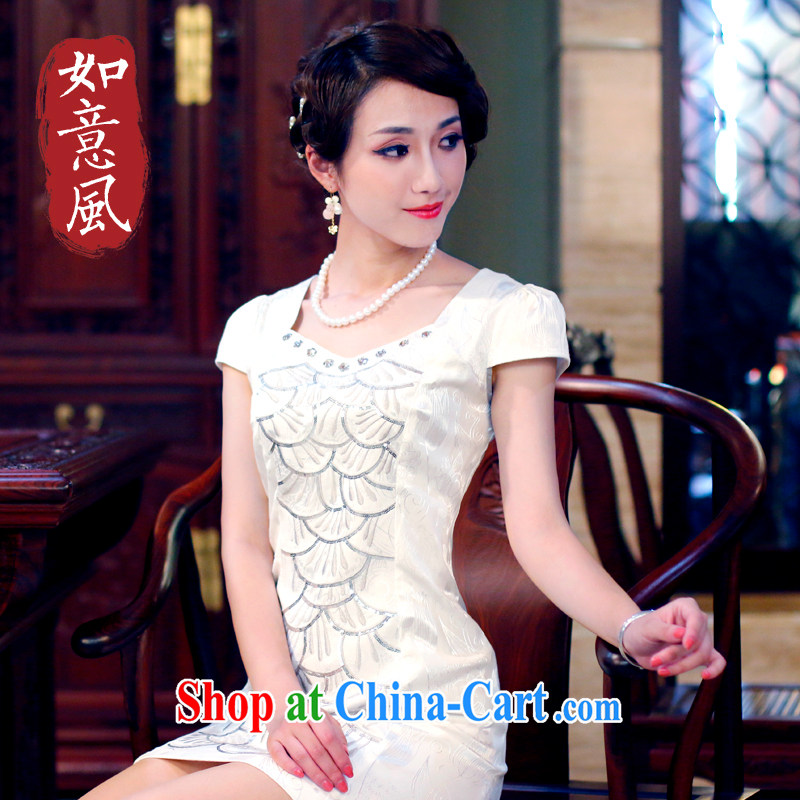 Unwind after the new spring and summer women's clothing dresses stylish improved retro genuine, qipao dresses 4205 4205 white XXL