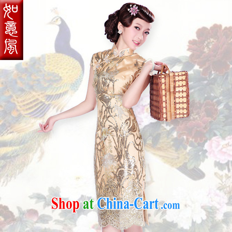 ruyi, 2015 new larger banquet dress uniform bows lace stylish long cheongsam dress 1005 1005 golden XXL