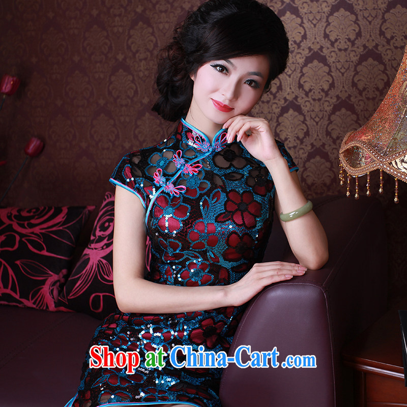 The Ruyi wind -- 2015 new cheongsam dress stylish manually staple beads, improved cheongsam dress 1003 1003 red the blue-chip XL