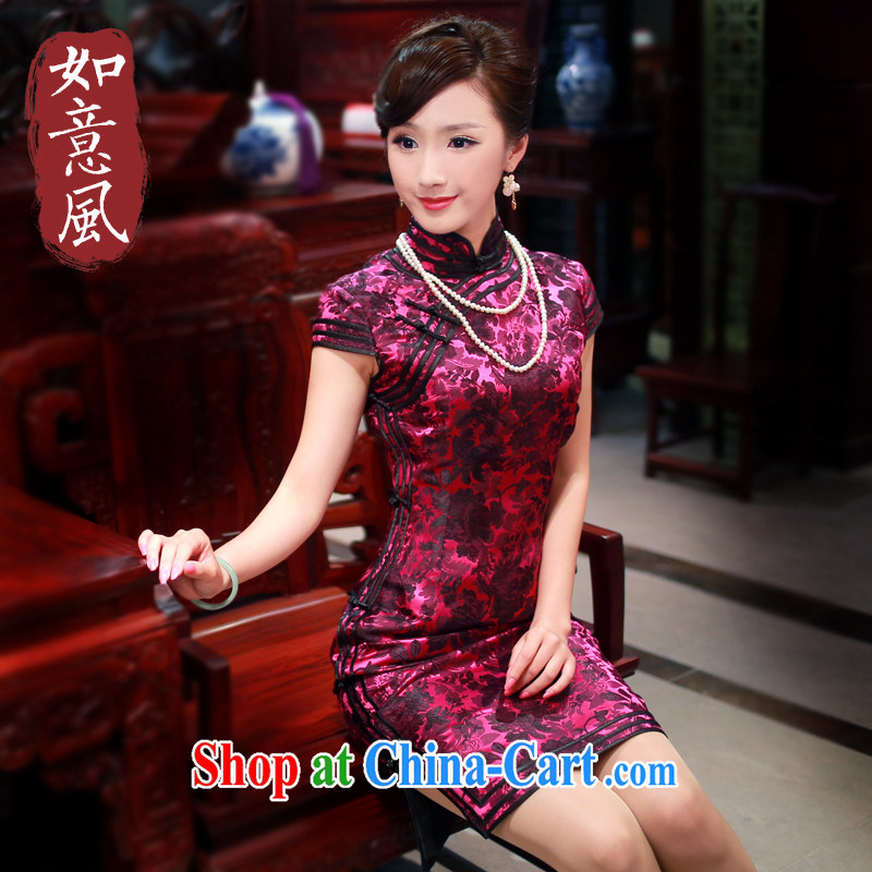 Unwind after the 2015 spring and summer new stylish dress cheongsam silk brocade Evening Dress upscale dresses 4019 4019 purple XXL