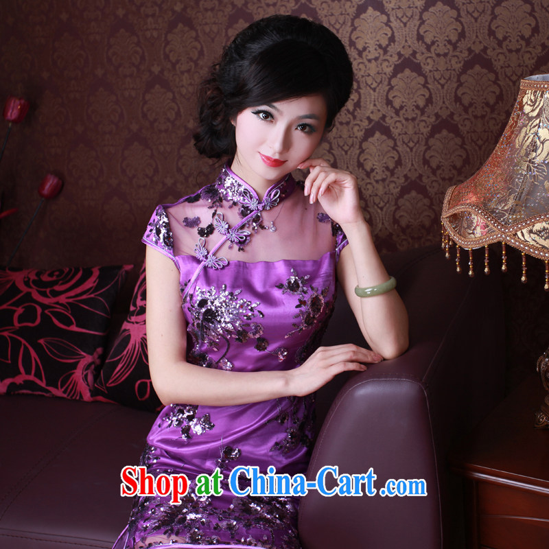 The Ruyi wind -- 2015 new summer dresses lace, upscale retro Ethnic Wind outfit 2068 2068 purple XL