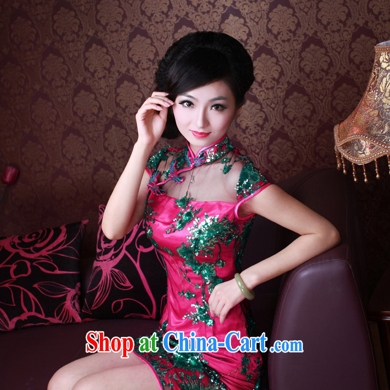 The Ruyi wind -- 2015 new stylish Chinese Dress mauve lace nails Pearl upscale banqueting outfit 2048 2048 red XL