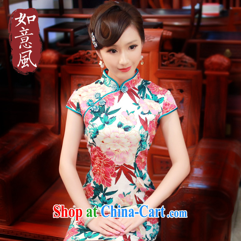 Peony 2015 girls summer New Beauty Fashion improved leisure daily short cheongsam dress 4006 4006 red XL