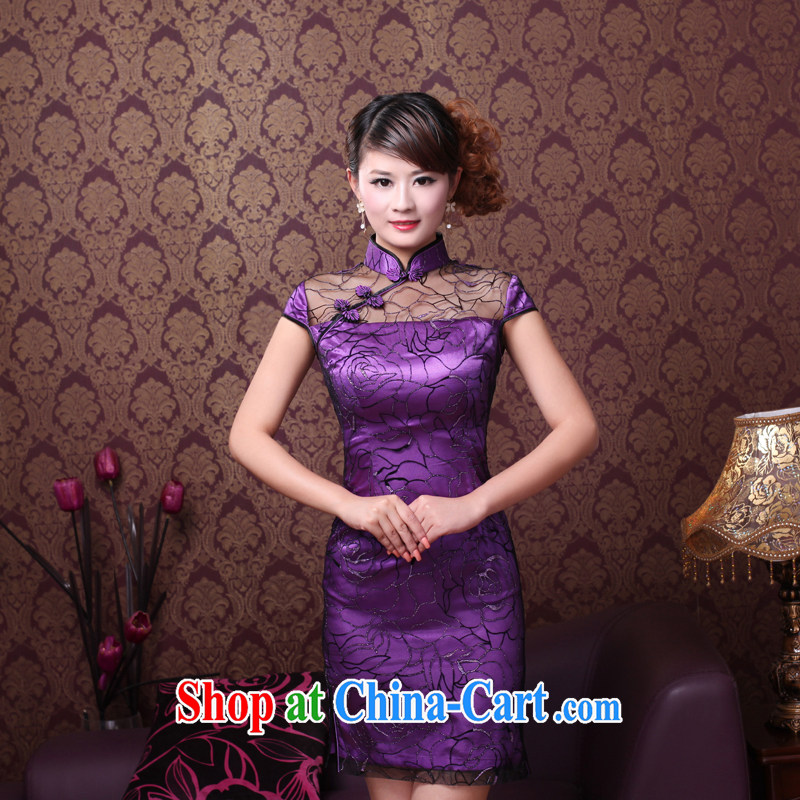 The Ruyi wind -- 2014 summer new, improved quality lace hand made embroidered bridal gown dresses 0092 0092 Purple Rose M