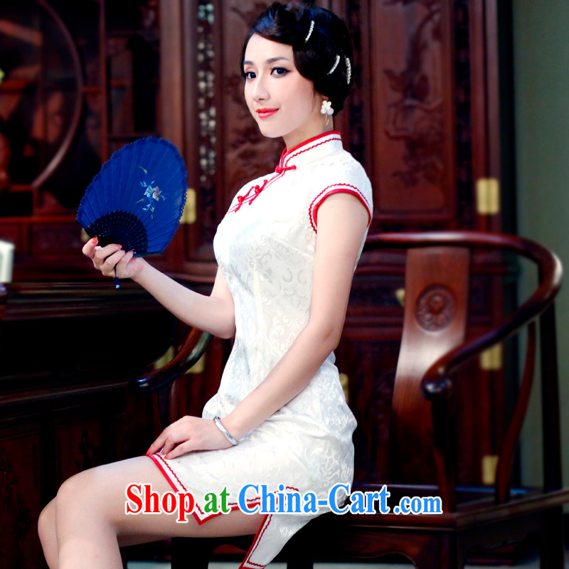 ruyi, 2015 stylish improvements, summer Chinese modern retro stamp cheongsam dress 0166 0166 red edge S