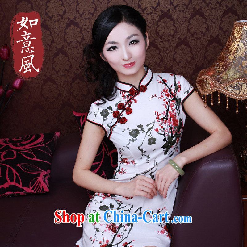 The Ruyi wind -- New improved retro short qipao the Maehyang-2015 summer fashion dresses skirts 2150 white XXL