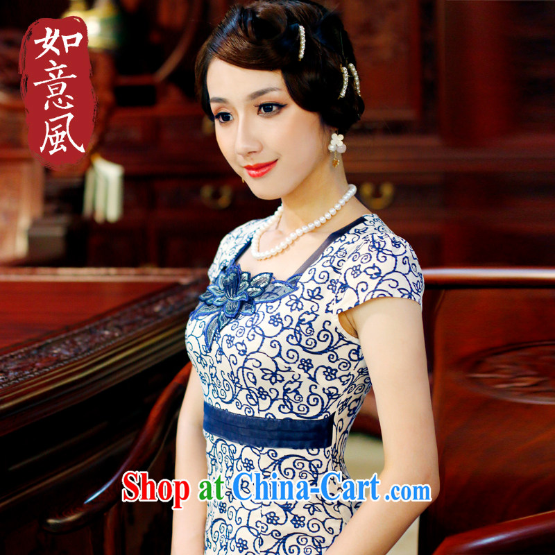 The sporting summer 2014 new embroidered style improved short cotton robes blue and white porcelain dress XXL 4024